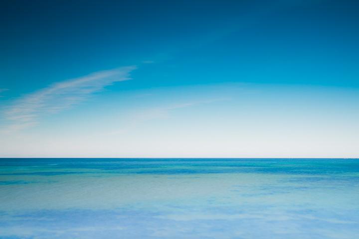 Blue sky and ocean. Horizon. Fröjel fiskeläger, Gotland.