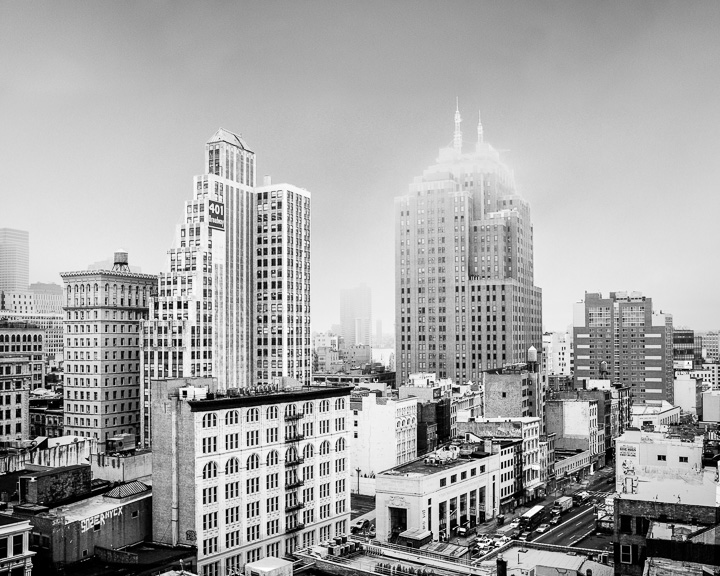 401 Broadway, New York. Black and White NYC skyline.