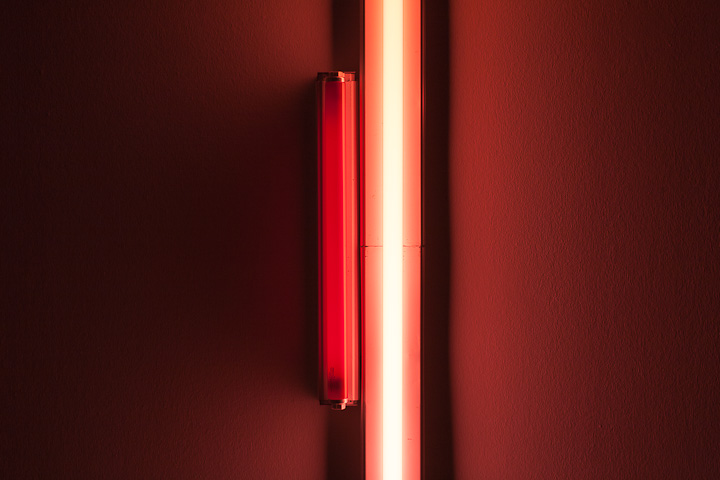 Red Neon - at Hamburger Bahnhof, Berlin, light installation by Dan Flavin