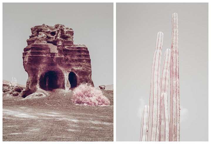 Diptych in infrared. Lanzarote, Spain.