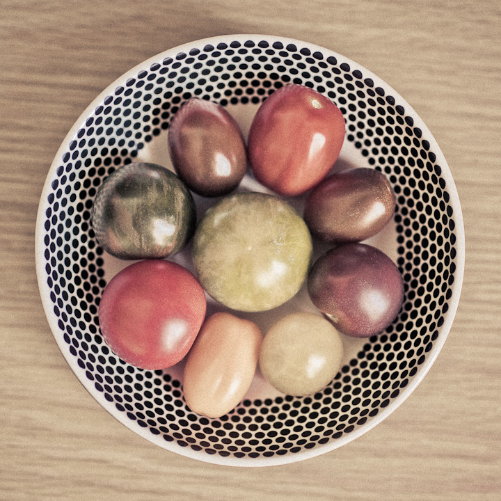 Palette of tomatoes. Red, green, yellow, violet. Different hues.