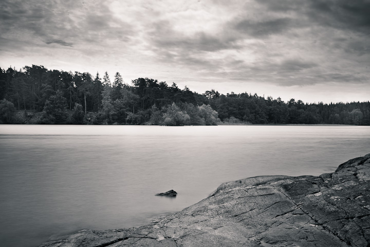 Cliff in black & white. Kärsön, Mälaren, Stockholm, Sweden.
